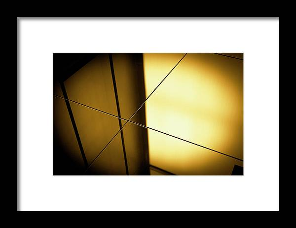 Shadow Framed Print featuring the photograph Close-up Spot Lit Reflection In Yellow by Ralf Hiemisch