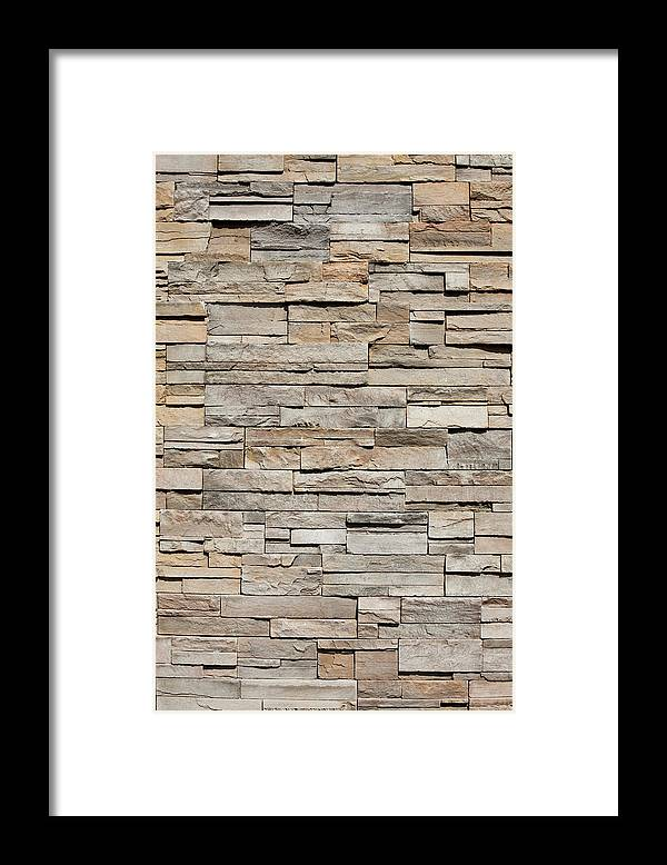 Rectangle Framed Print featuring the photograph Closeup Of A Sandstone Brick Side Of by Carterdayne