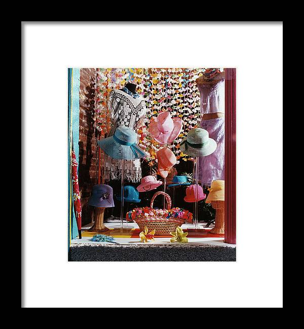 Straw Hat Framed Print featuring the photograph Clothing Store Window Display by Silvia Otte