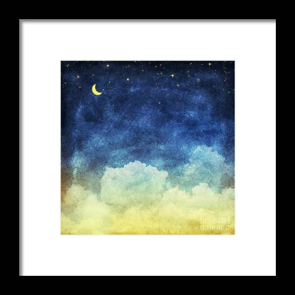 Craft Framed Print featuring the digital art Cloud And Sky At Night ,yellow And Blue by Mr.lightman1975