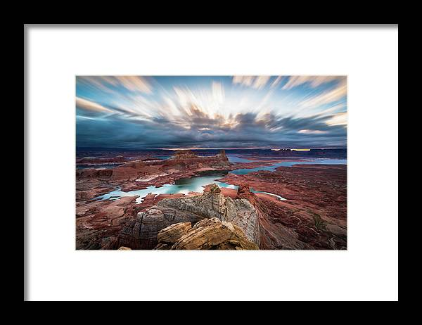 Lake Powell Framed Print featuring the photograph Cloudy Morning at Lake Powell by James Udall