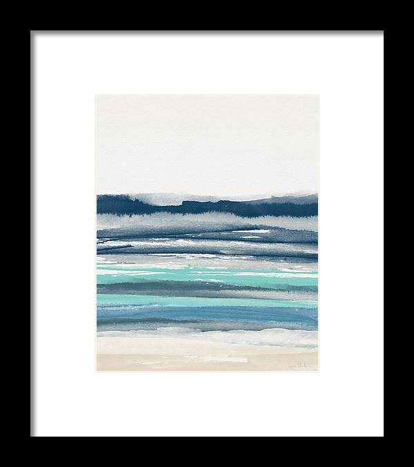 Abstract Framed Print featuring the painting Coastal Calm Water 2- Art By Linda Woods by Linda Woods