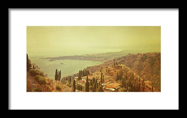 Panoramic Framed Print featuring the photograph Coastline Of Taormina And Giardini Naxos by Tjarko Evenboer / The Netherlands