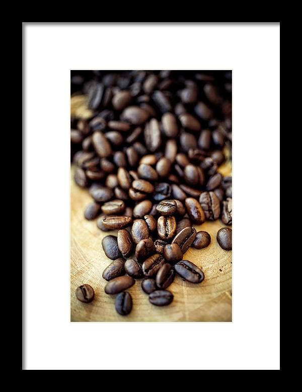 Black Color Framed Print featuring the photograph Coffee Beans by Chang