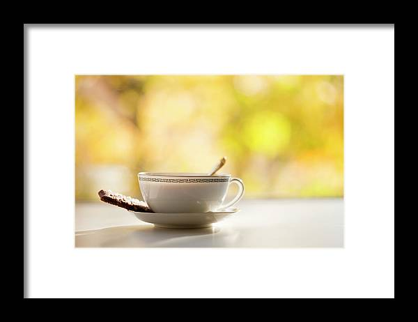 Food And Drink Framed Print featuring the photograph Coffee Cup With Cookie, Still Life by Johner Images