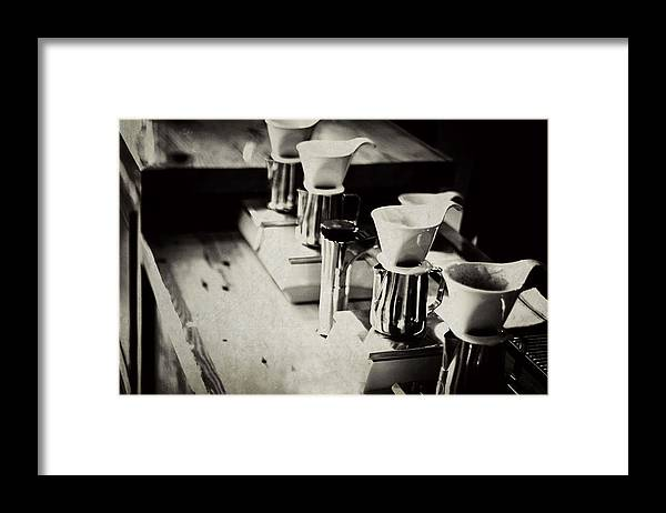 Retail Framed Print featuring the photograph Coffee Shop by Hilde Wegner . Photography