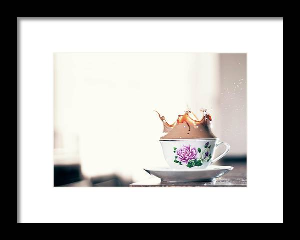 Motion Framed Print featuring the photograph Coffee Splash In Kitchen by Photographs By Vitaliy Piltser