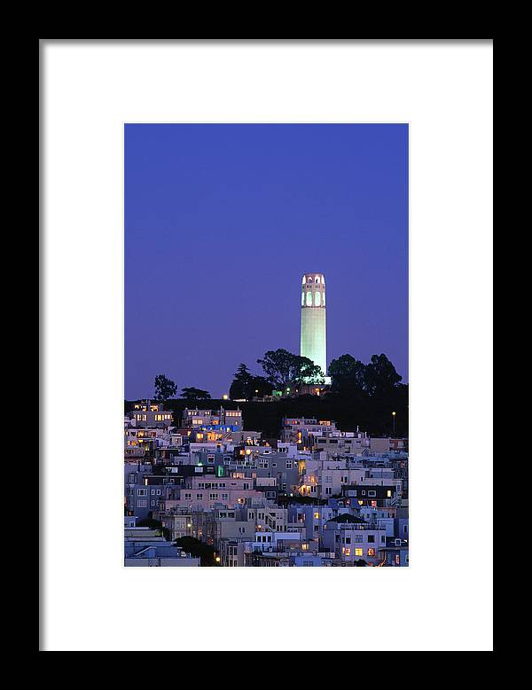 San Francisco Framed Print featuring the photograph Coit Tower, Telegraph Hill At Dusk, San by Thomas Winz