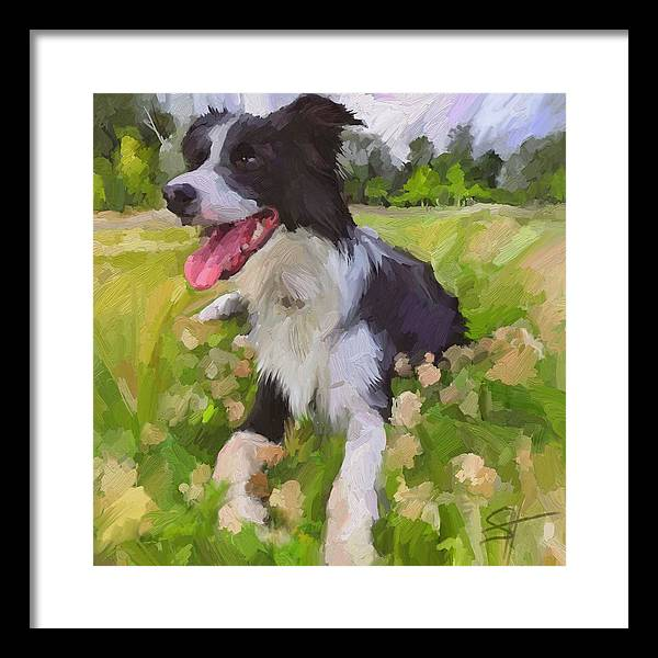 Border Collie Framed Print featuring the digital art Collie Flowers by Scott Waters