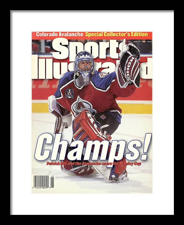 Magazine Cover Framed Print featuring the photograph Colorado Avalanche Goalie Patrick Roy, 1996 Nhl Stanley Cup Sports Illustrated Cover by Sports Illustrated