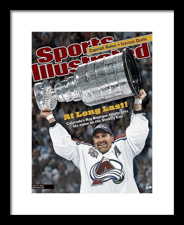 Magazine Cover Framed Print featuring the photograph Colorado Avalanche Ray Bourque, 2001 Nhl Stanley Cup Finals Sports Illustrated Cover by Sports Illustrated