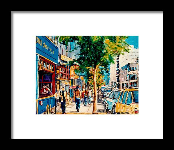 Paintings Of Montreal Framed Print featuring the painting Colorful Cafe Painting Irish Pubs Bistros Bars Diners Delis Downtown C Spandau Montreal Eats     by Carole Spandau