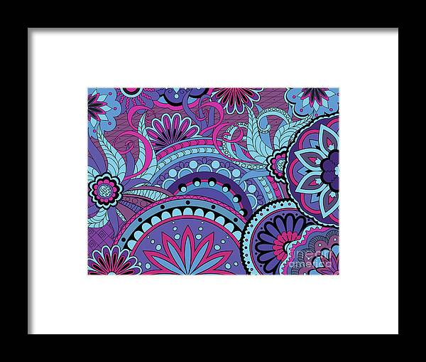 Mandala Framed Print featuring the digital art Colorful Floral Background In Boho Style by Sliplee