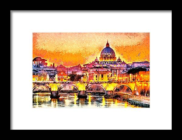 Capital Framed Print featuring the digital art Colorful Illuminated San Peter Basilica by Ivan Aleshin