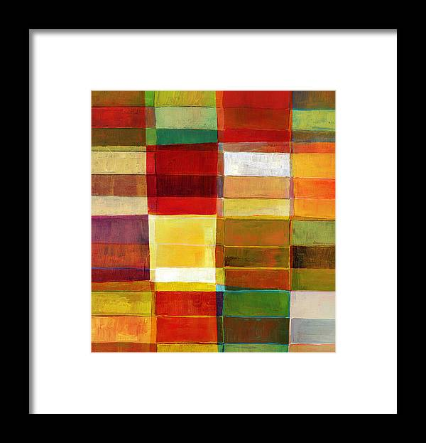 Rectangle Framed Print featuring the photograph Colorful Painted Block Pattern by Qweek