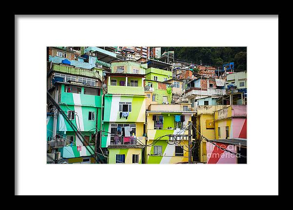 De Framed Print featuring the photograph Colorful Painted Buildings Of Favela by Skreidzeleu