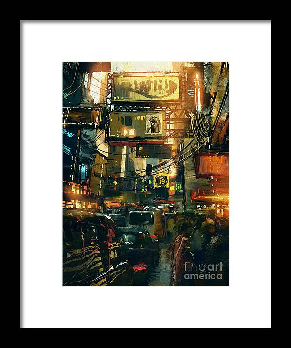 Fi Framed Print featuring the digital art Colorful Painting Of Shopping Street In by Tithi Luadthong