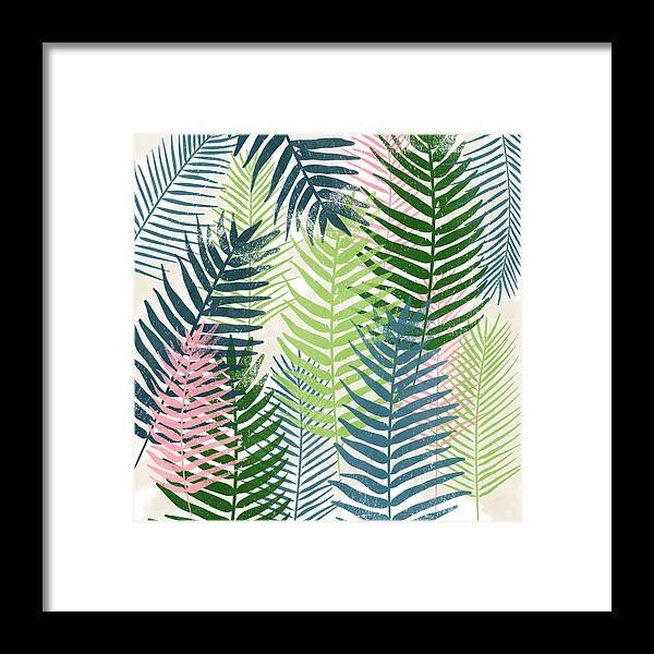 Tropical Framed Print featuring the mixed media Colorful Palm Leaves 2- Art by Linda Woods by Linda Woods