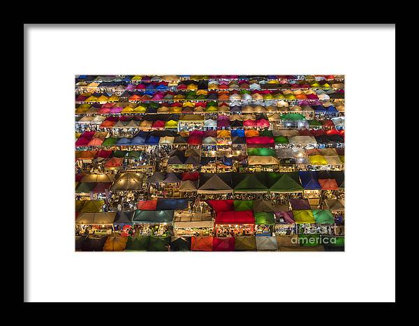 Seller Framed Print featuring the photograph Colorful Street Market From Above by Duke.of.arch