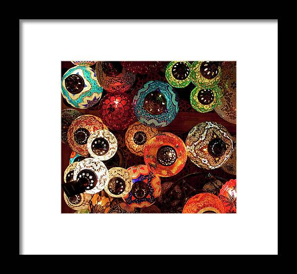 Antique Shop Framed Print featuring the photograph Colorful Turkish Lanterns From The by Wldavies