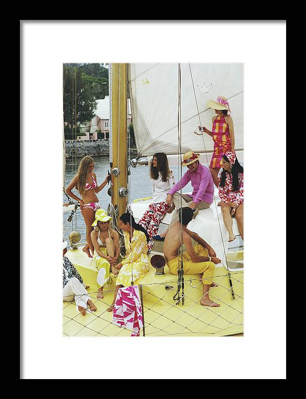 People Framed Print featuring the photograph Colourful Crew by Slim Aarons