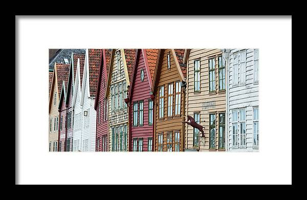 Panoramic Framed Print featuring the photograph Colourful Houses In A Row by Keith Levit / Design Pics