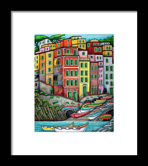 Italy Framed Print featuring the painting Colours of Riomaggiore Cinque Terre by Lisa Lorenz