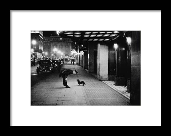 Piccadilly Circus Framed Print featuring the photograph Commissionaires Dog by Kurt Hutton