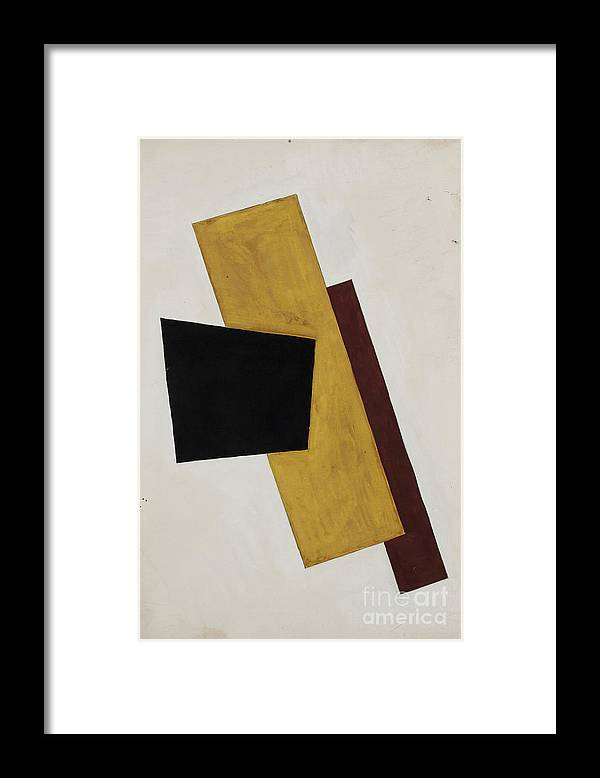Gouache Framed Print featuring the drawing Composition. Artist Popova, Lyubov by Heritage Images
