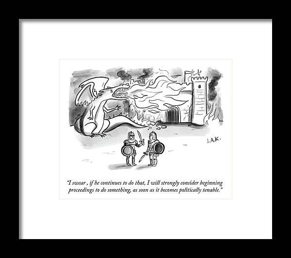 I Swear Framed Print featuring the drawing Consider Beginning Proceedings by Jason Adam Katzenstein