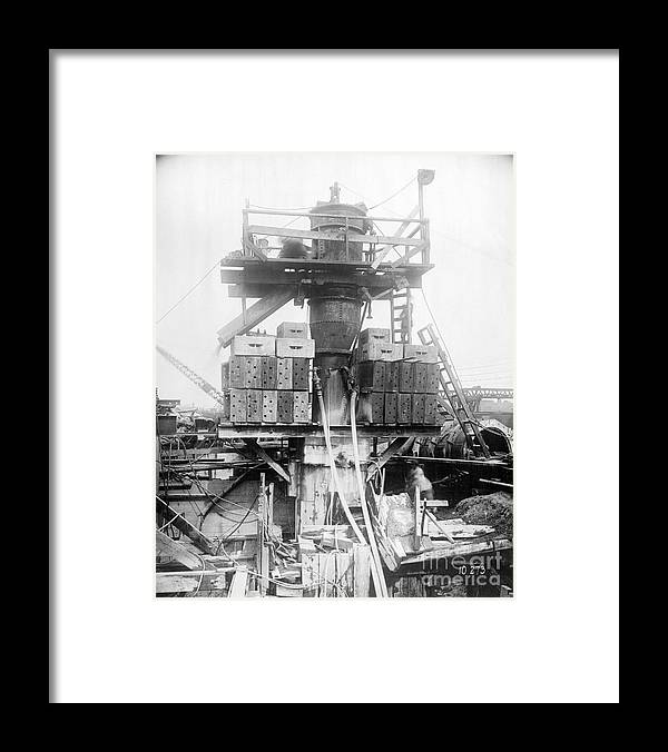 Civil Engineering Framed Print featuring the photograph Construction Of Holland Tunnel by Bettmann