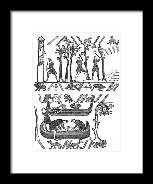 Engraving Framed Print featuring the drawing Construction Of The Boats For William by Print Collector