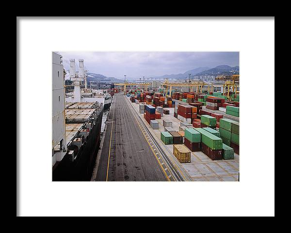 Freight Transportation Framed Print featuring the photograph Container Shipping, Port Of Genoa, Italy by Alberto Incrocci