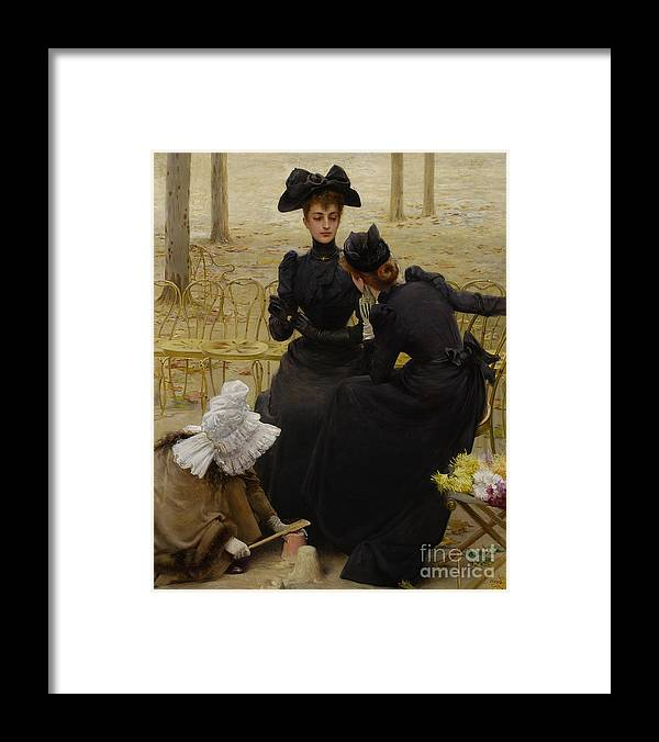 Oil Painting Framed Print featuring the drawing Conversation In The Jardin Du by Heritage Images