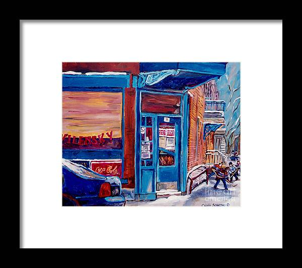 Hockey At Wilensky's Diner Framed Print featuring the painting Corner Cafe Clark And Fairmount Wilensky's Winter Scene Habs Hockey Art C Spandau Quebec Artist by Carole Spandau