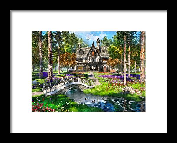 Cottage Framed Print featuring the painting Cottage In The Forest by Dominic Davison