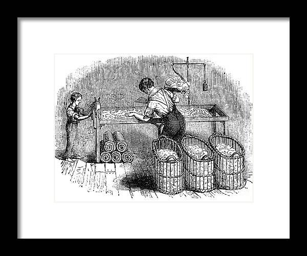 Working Framed Print featuring the drawing Cotton Manufacture, C1845 by Print Collector