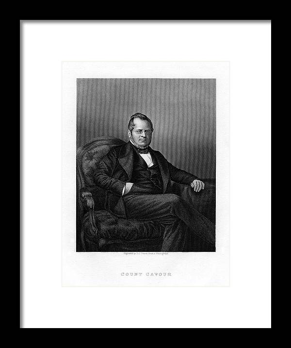 Engraving Framed Print featuring the drawing Count Camillo Benso Di Cavour, Italian by Print Collector