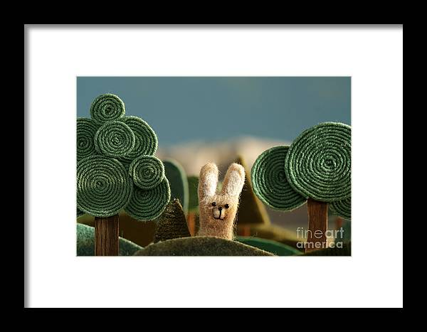Country Framed Print featuring the photograph Countryside With Hare - Stylized Nature by Kreus