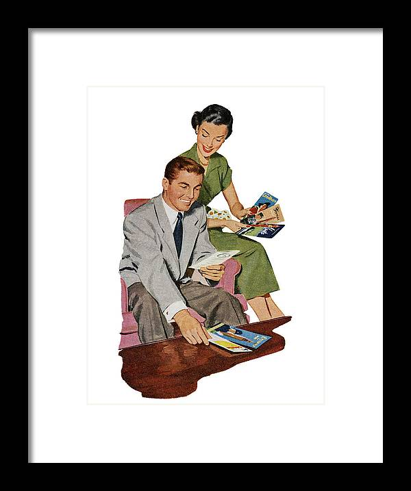Heterosexual Couple Framed Print featuring the digital art Couple With Travel Brochures by Graphicaartis