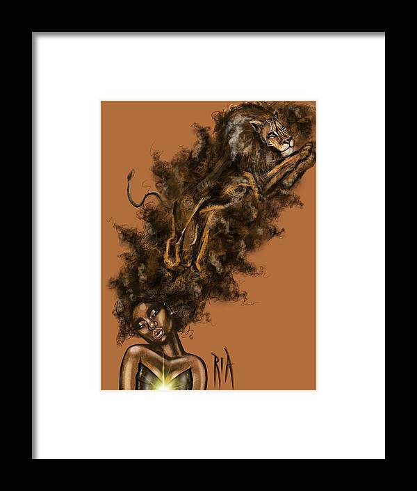Lion Framed Print featuring the painting Courageous Me by Artist RiA
