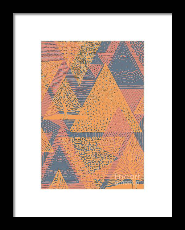 Textures Framed Print featuring the digital art Cover Design With Triangles. Vector by Jumpingsack