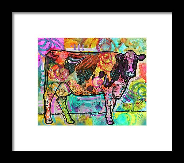 Cow Framed Print featuring the mixed media Cow - Mooove Over Rover by Dean Russo- Exclusive