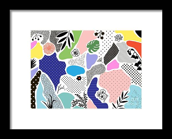 Collage Framed Print featuring the digital art Creative Geometric Background With by Lera Efremova