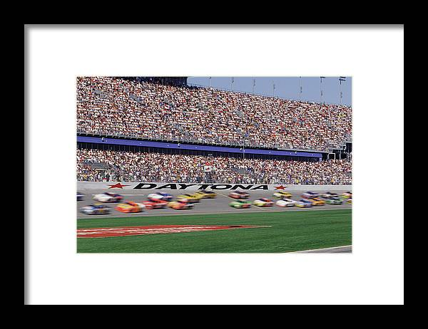 Event Framed Print featuring the photograph Crowd At Car Race by William R. Sallaz