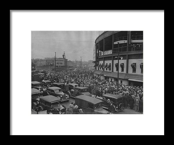 Crowd Framed Print featuring the photograph Crowd At Wrigley During World Series by Chicago History Museum