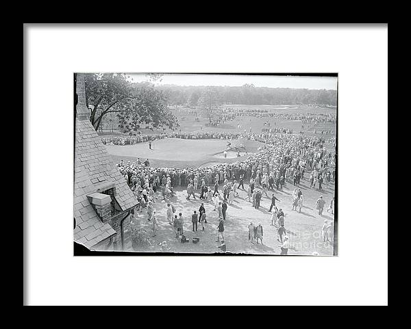 Crowd Of People Framed Print featuring the photograph Crowd Watching Bobby Jones During Golf by Bettmann
