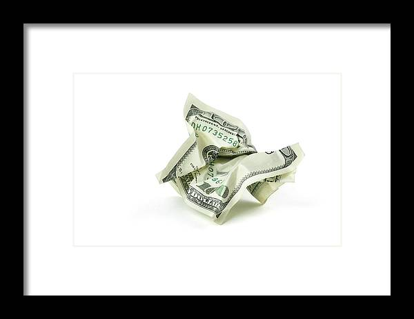 Debt Framed Print featuring the photograph Crumpled Money With Clipping Path by Georgepeters