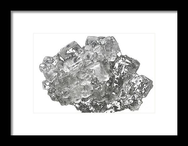 Isolated Framed Print featuring the photograph Cubic Salt Crystal Aggregate by Frank Heinz