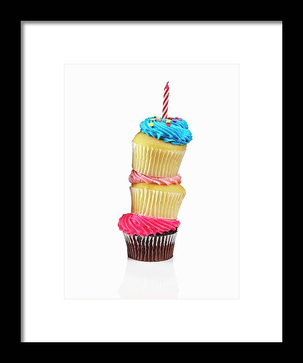 Unhealthy Eating Framed Print featuring the photograph Cupcakes In A Stack by Lew Robertson